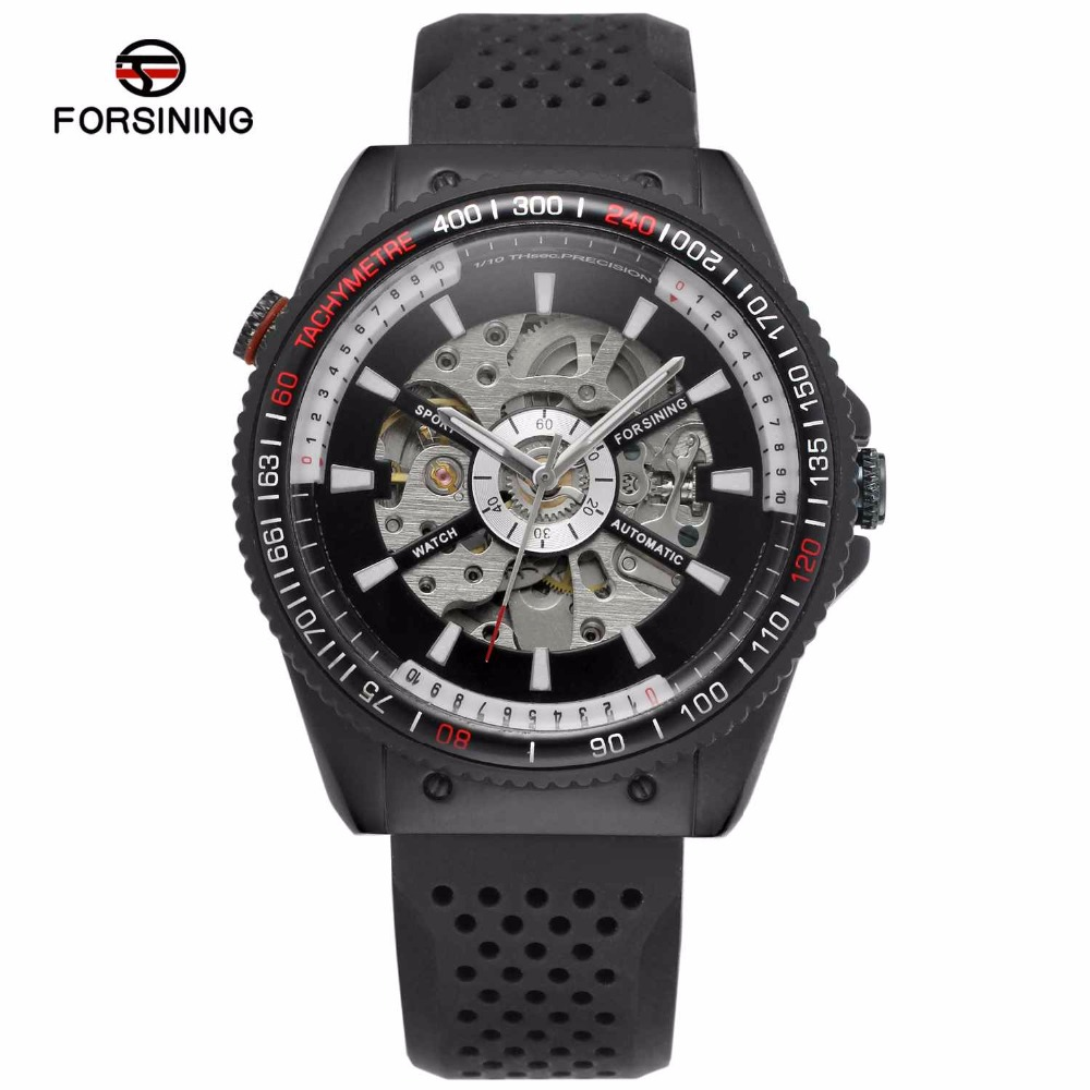 FORSINING Casual Men Automatic Mechanical Watch Silicone Strap Japan Movement Sport Watch Skeleton Dial 2018 Black Wristwatch goblin shark sport watch 3d logo dual movement waterproof full black analog silicone strap fashion men casual wristwatch sh165