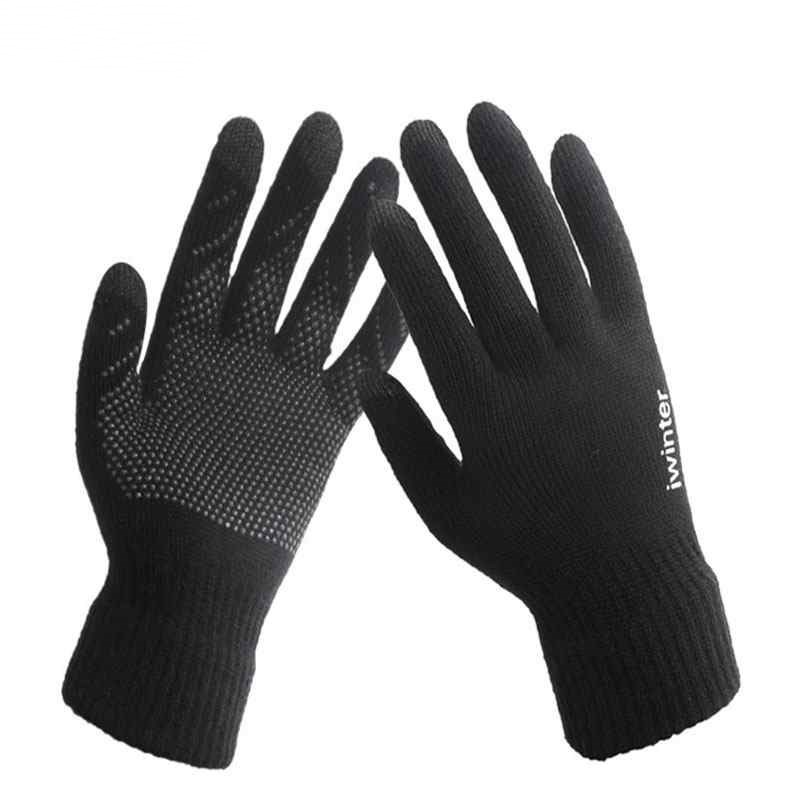 YGYEEG Men Women Unisex Woolen Thermal Mittens Gloves Winter Thick Cotton Warm Knitting Full Finger Plain Color Gloves Guantes