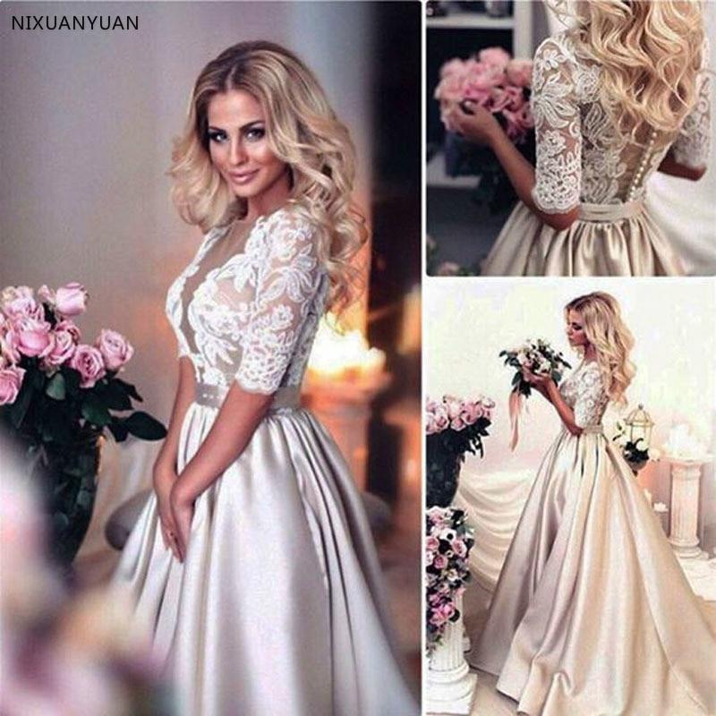 2020 Champagne Wedding Dresses Country Wedding Novia Bridal Gowns Half Sleeves Deep V-Neck Sashes Elegant Bride Abiti Da Sposa