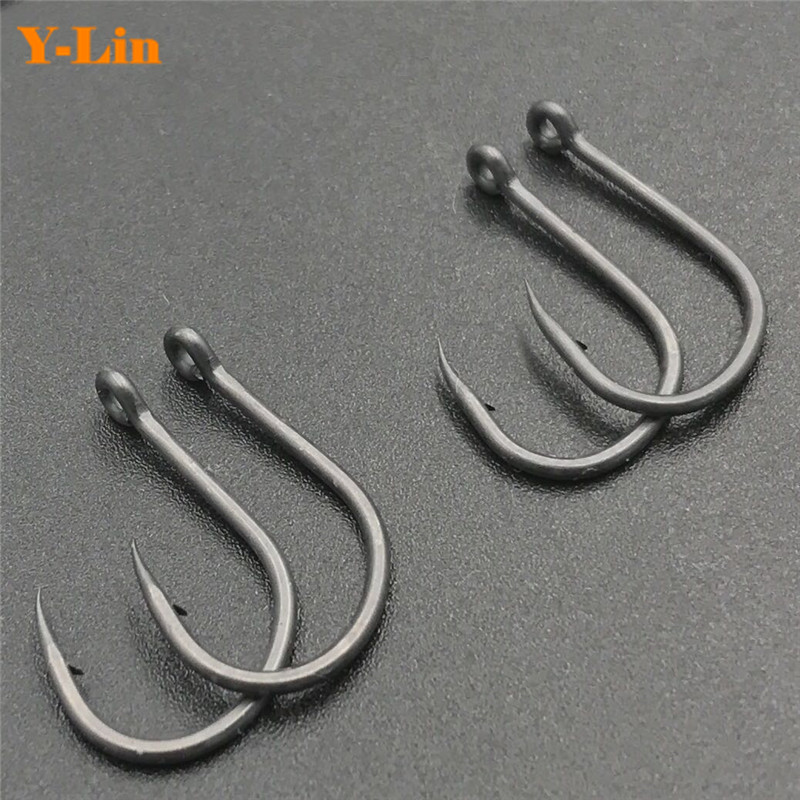 Carp Fishing TEFLON COATING  Wide Gape Barbed Hooks Quality Carbon Steel Hooks Curve Shank Made In Japan Carp Hair Chod Rigs