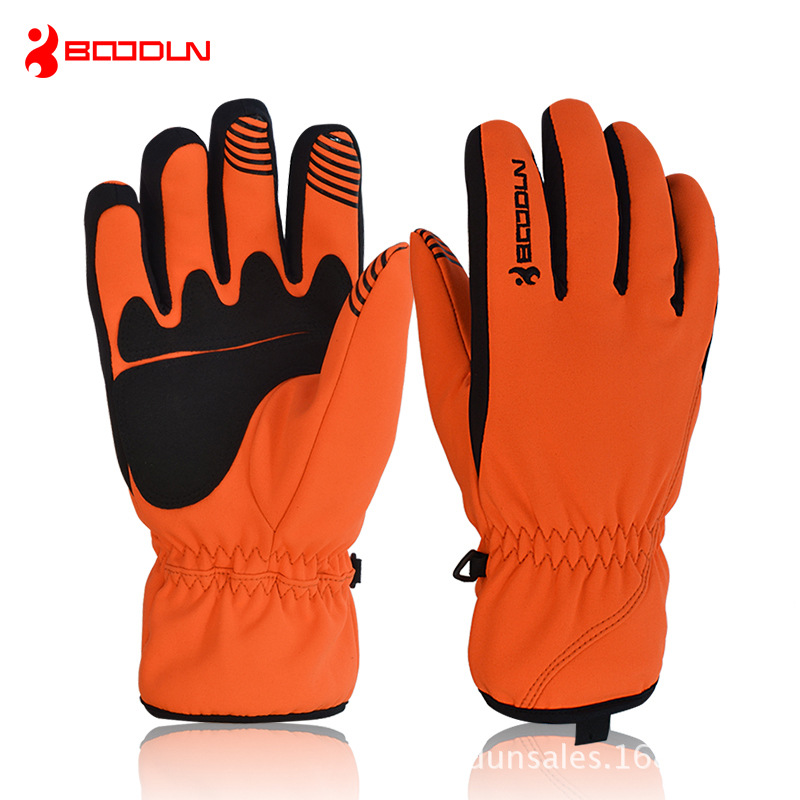 BOODUN Warm Snow Skiing Gloves Cycling Gloves For Men Women Solid Windproof Sports Gloves Waterproof Professional Skiing Gloves