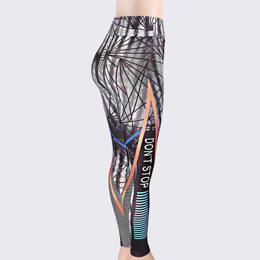 2019 nowy sport styl z nadrukiem legginsy umieścić Hip do składania elastyczny wysokiej talii Legging oddychające obcisłe spodnie