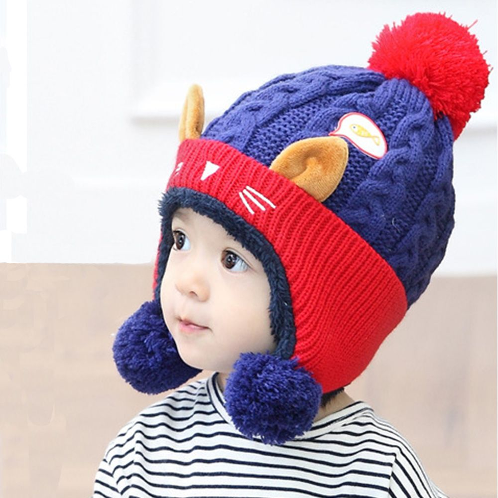 1pcs Cute Baby Winter Hat Warm Child Beanie Cap Animal Cat Ear Kids Crochet Knitted Hat For Boys Girls Hot Girl's Accessories