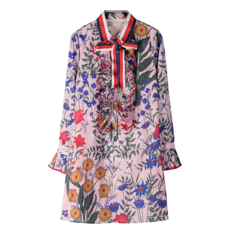 Ecombird HIGH QUALITY 2018 Spring Summer Newest Runway Designer Dress Women's Long Sleeve Shirt Collar Floral Printed Bow Dress high collar long sleeve printed dress