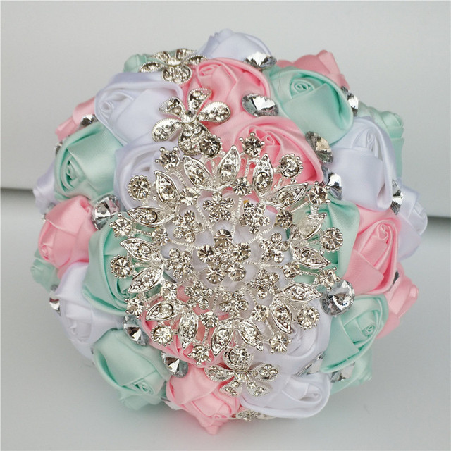 White Pink Mint Green Satin Roses Wedding Bouquet Flowers ramos de ...