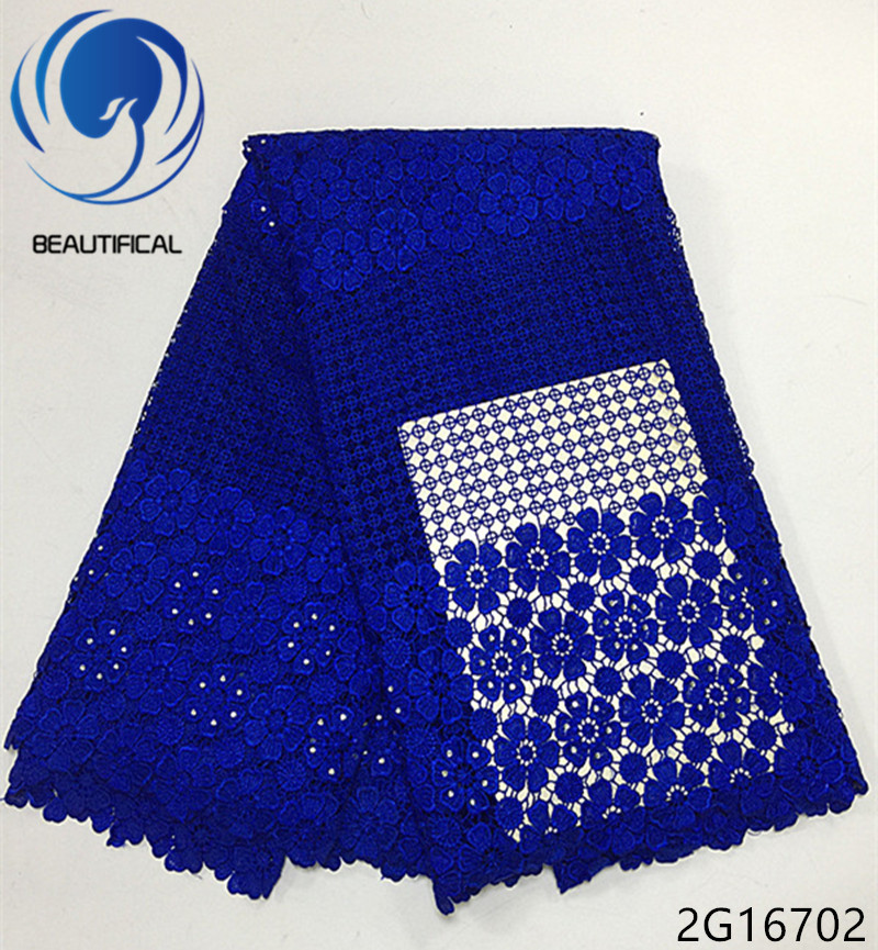 Beautifical guipure lace dress fabric blue african cord 2018 flower style 5yards/piece 2G167