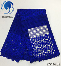 Beautifical guipure lace dress guipure lace fabric blue african guipure cord lace fabric 2018 flower style 5yards/piece 2G167