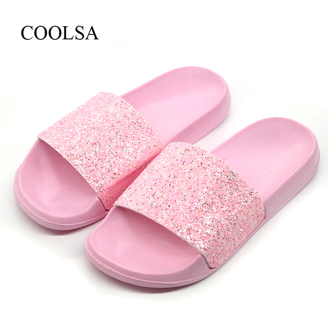 832ac6ad672c88 COOLSA Women s Summer Non-slip Solid Flat Bling Slippers Sequins Designer Flat  Slides Beach Home