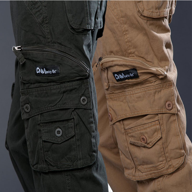 Fashion Multi Pockets Combat Tactical Trouser Military Style Cargo Pants Men Baggy Loose Casual Cotton Black Khaki Army Green