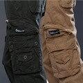 Moda multi bolsillos pantalones de estilo militar de combate táctico pantalones cargo hombres baggy loose casual algodón negro khaki verde del ejército
