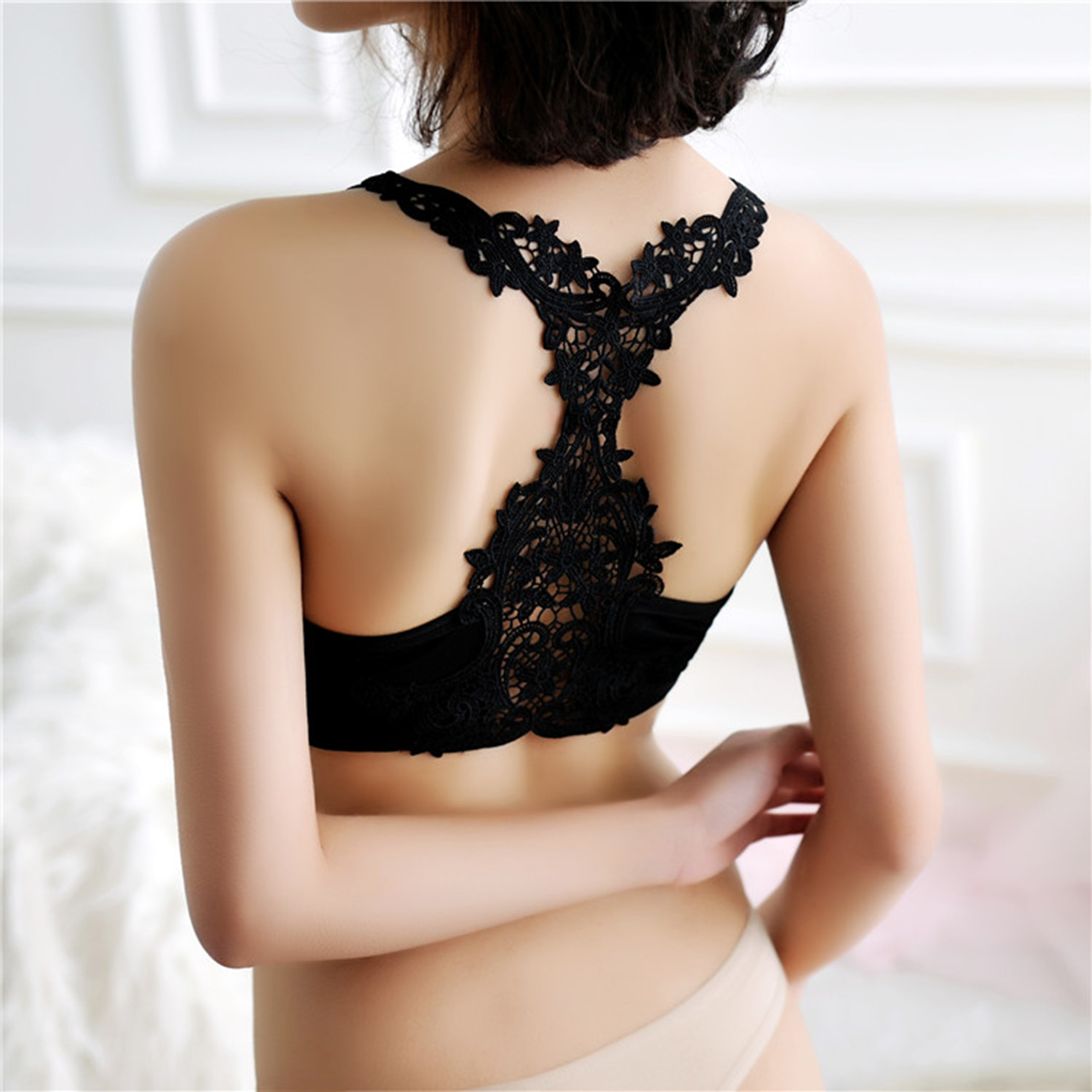 Solid Black & White Women Fashion Trim Bra Sexy Lace Jacquard Wide Straps Tube Tops Soft Push Up Deep V Cross Back Bra