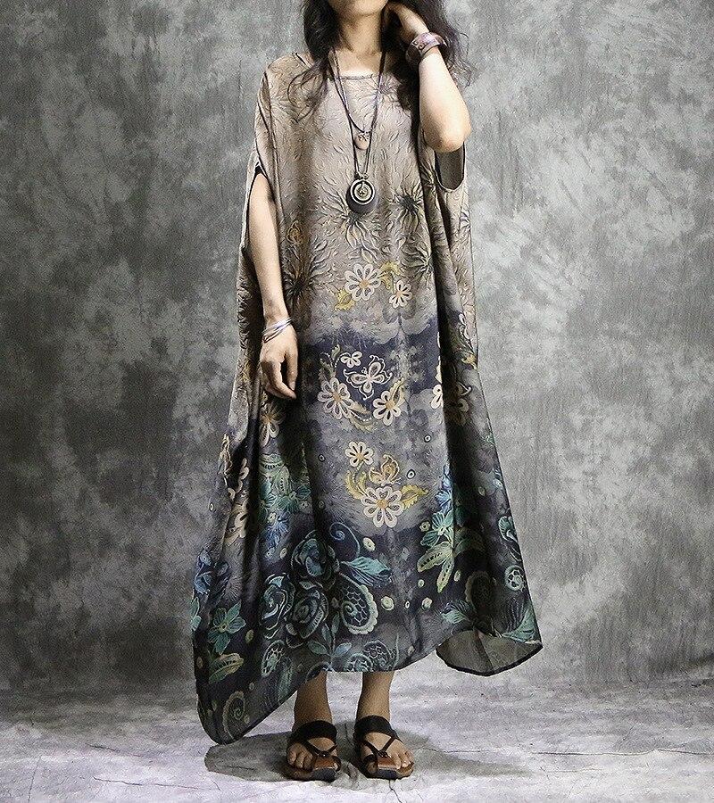 Women Plus Size Printed Silk Chiffon Bat Sleeve Dress ladies irregular Hem Printing Dress Summer Loose