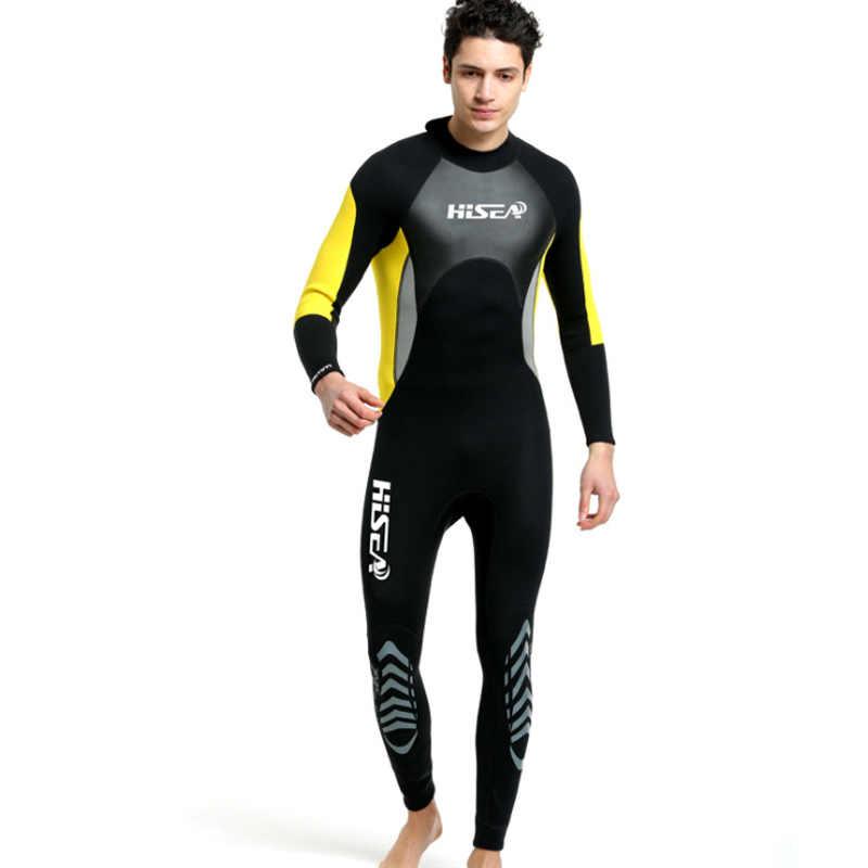 Hisea Mannen Duiken Pak 3 MM Neopreen Wetsuit Een Stuk Voorkomen UV Kwallen Pak Triathlon Surf Nat Pak Badpak Volledige bodysuit