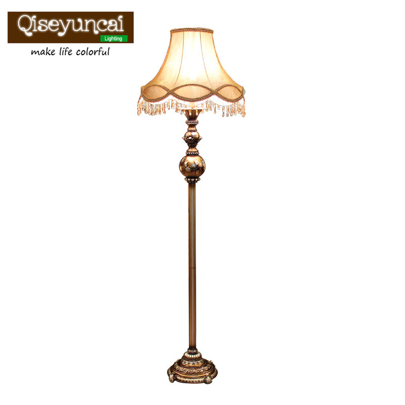 Qiseyuncai European-style living room floor lamp creative retro vertical table lamp study bedroom bedside floor lamp french garden vertical floor lamp modern ceramic crystal lamp hotel room bedroom floor lamps dining lamp simple bedside lights