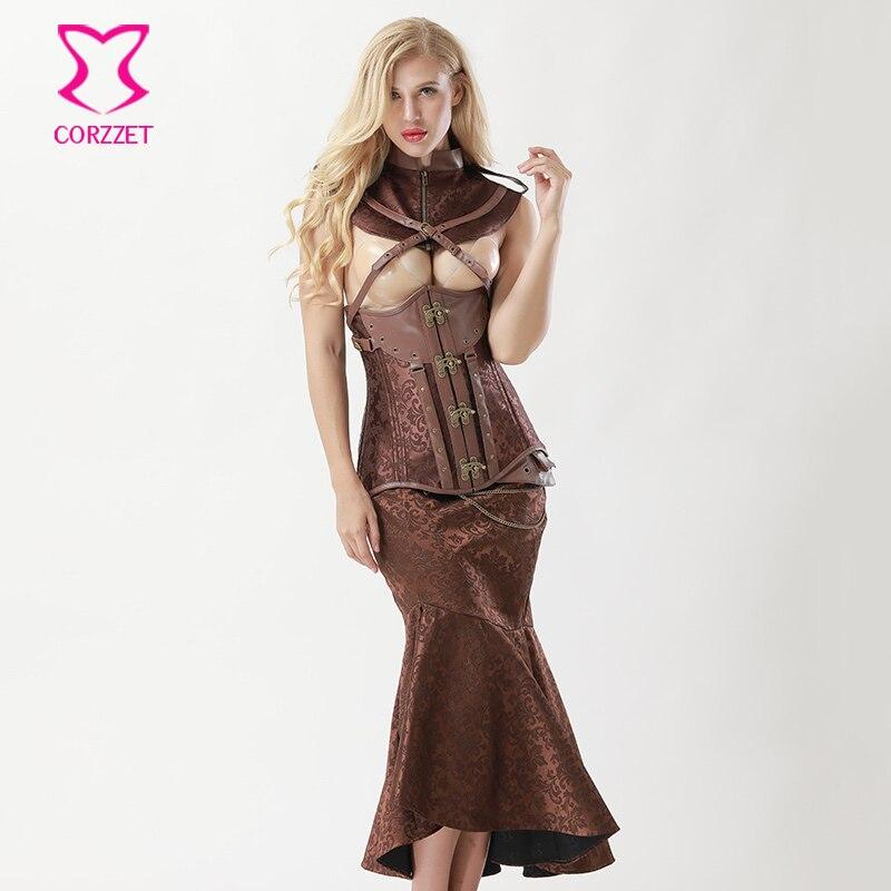 Corzzet Black Brocade Long Sleeve Overbust   Corset   Dress Waist Trainer Sexy Fishtail Mermaid Skirts Steampunk   Corset   Dress