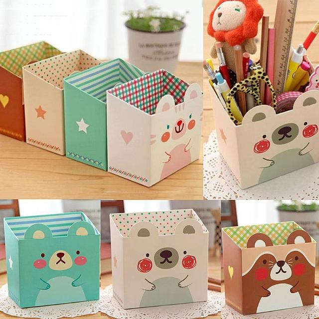 New Cute Cat Cartoon Paper Stationery Makeup Cosmetic Desk Storage Box Diy Office Organizer Random