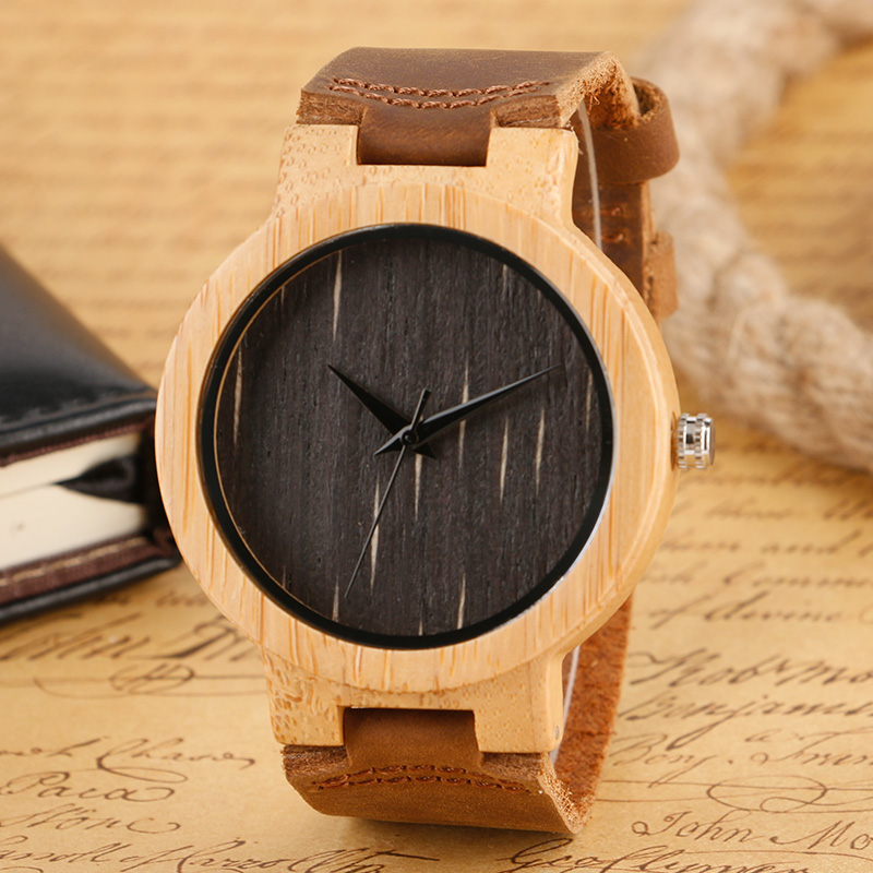 Fashion Wood Wristwatch Black Dial Genuine Leather Band Strap Quartz Wrist Watch Modern Novel Style Men Women Watches For Gift