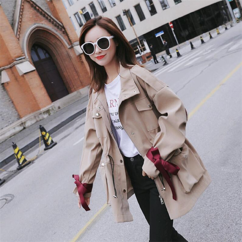 2019 Women   Trench   Coats Autumn Spring Adjust Waist Zipper Long Sleeve Loose Cute Clothing For Female Ds50159