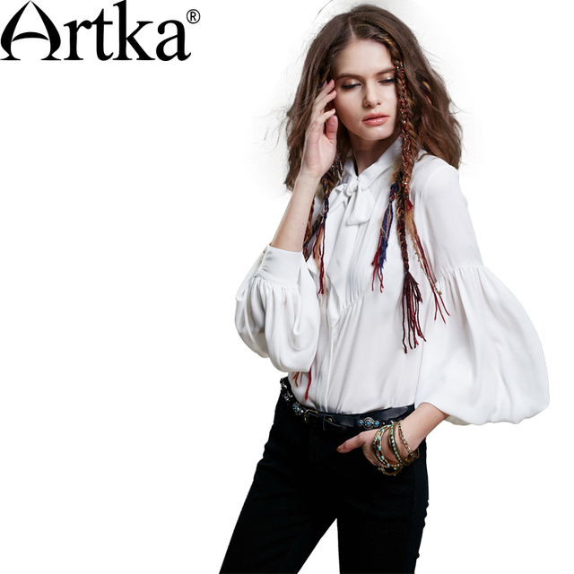 Artka Women's Spring New Vintage Bow Decoration Chiffon Blouse Elegant Solid Color Lantern Sleeves Casual Shirt S110058Q