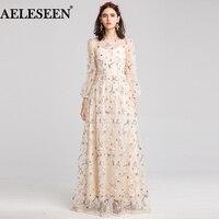 AELESEEN модельер платье макси новинка 2019 года Высокое качество женские длинные звезда вышитые вечерние Сетчатое платье свадебное