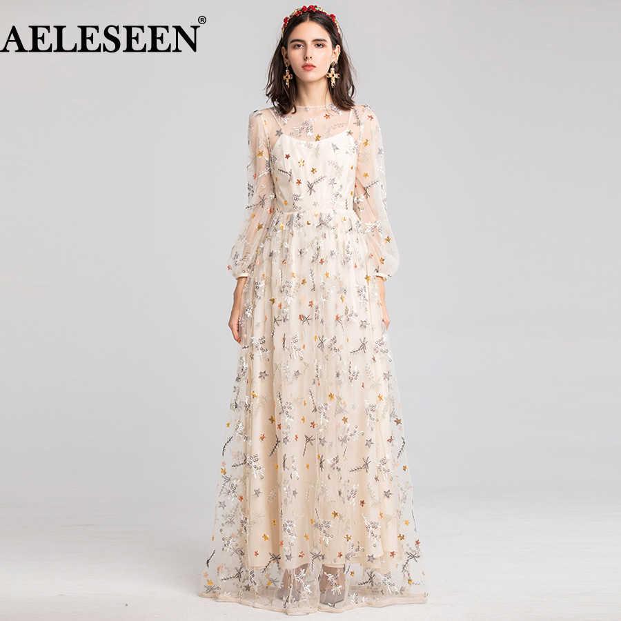 Aeleseen Fashion Designer Maxi Dress 2019 New High Quality Women S Long Star Embroidered Long Party Mesh Dress Wedding Aliexpress