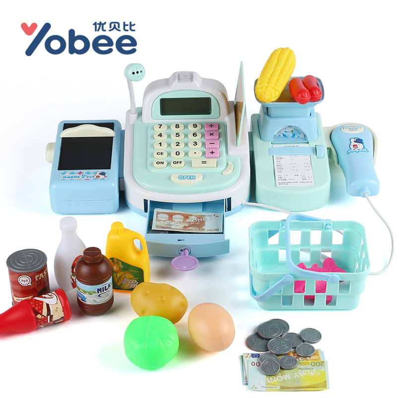 Yobee Multi-functional Cash Register Toy Educational Pretend Play Operated Toy Working Calculator and Microphone, Scanner