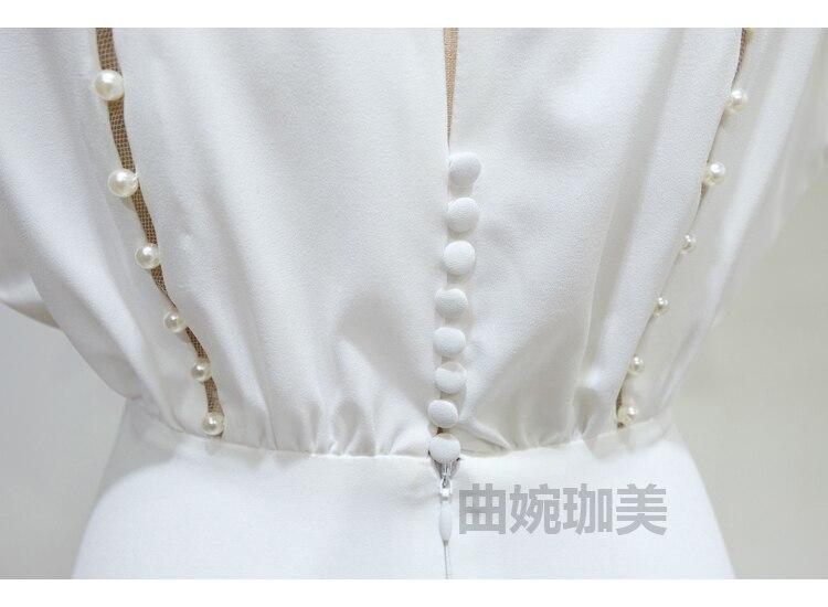 COLOREE élégant blanc femmes robe Midi 2019 Sexy évider perle dos nu mince à manches courtes robe de soirée - 6