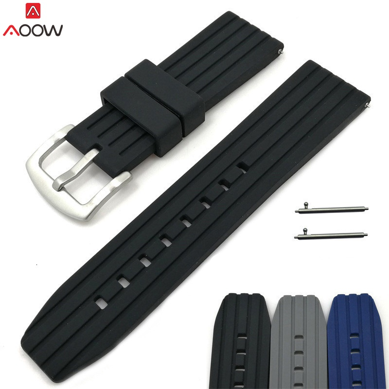 AOOW Generic Watchband Silicone Rubber Watch Strap Bands 20mm 22mm 24mm Waterproof Watchband Belt Accessories High Quality