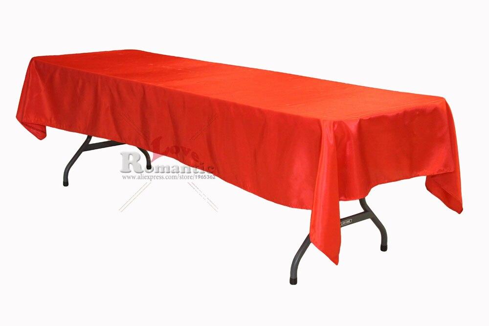 10pcs 145x304cm Red/Burgundy/Cherry Red Satin Rectangle Tablecloth For  Wedding Eventu0026Partyu0026Hotelu0026Banqetu0026Home Decoration