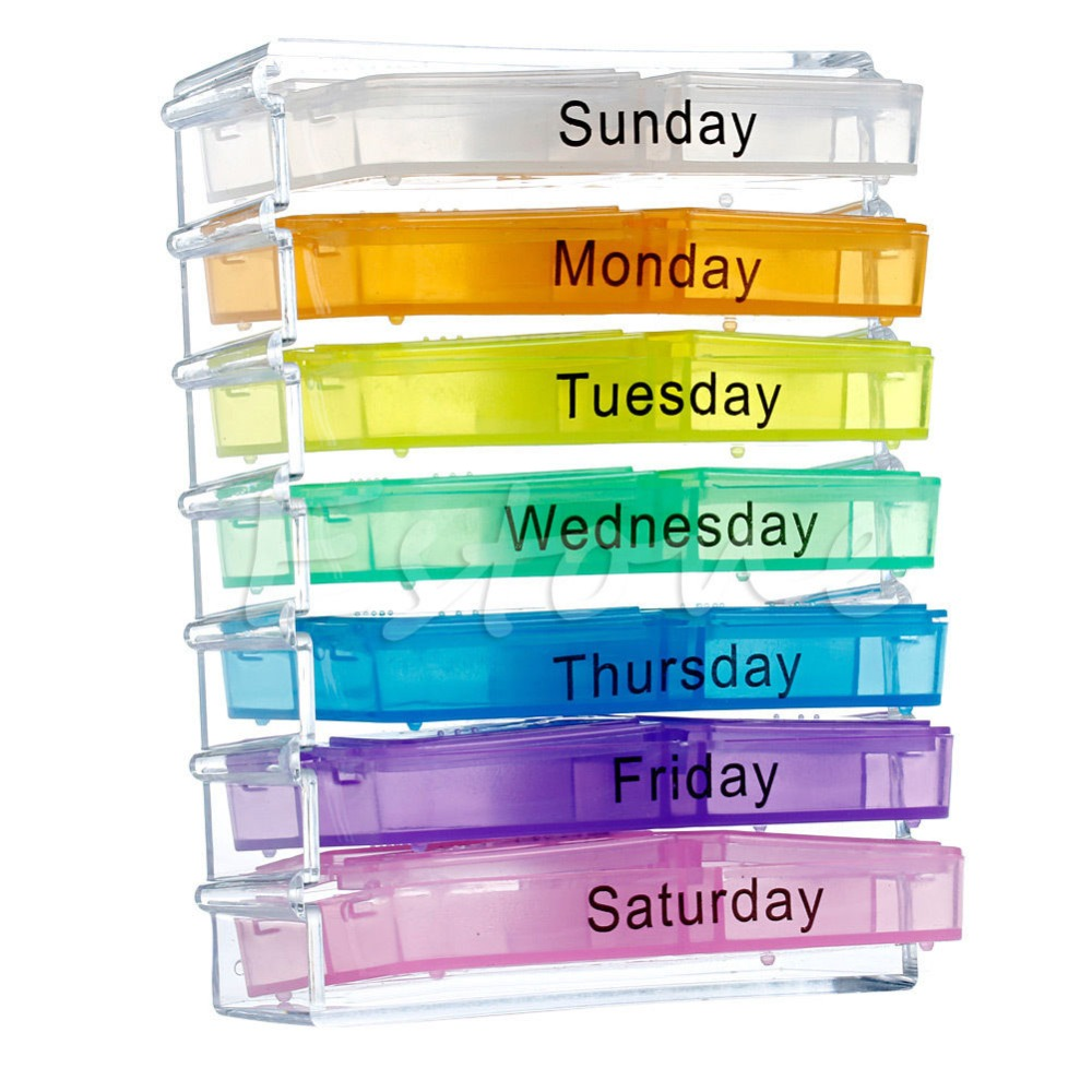 7 day tablet pill weekly boxes boxes holder medicine for Pill bottle storage rack