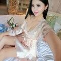 2017 new ladies imitated silk braces dress lace sleepwear nightgown nightwear