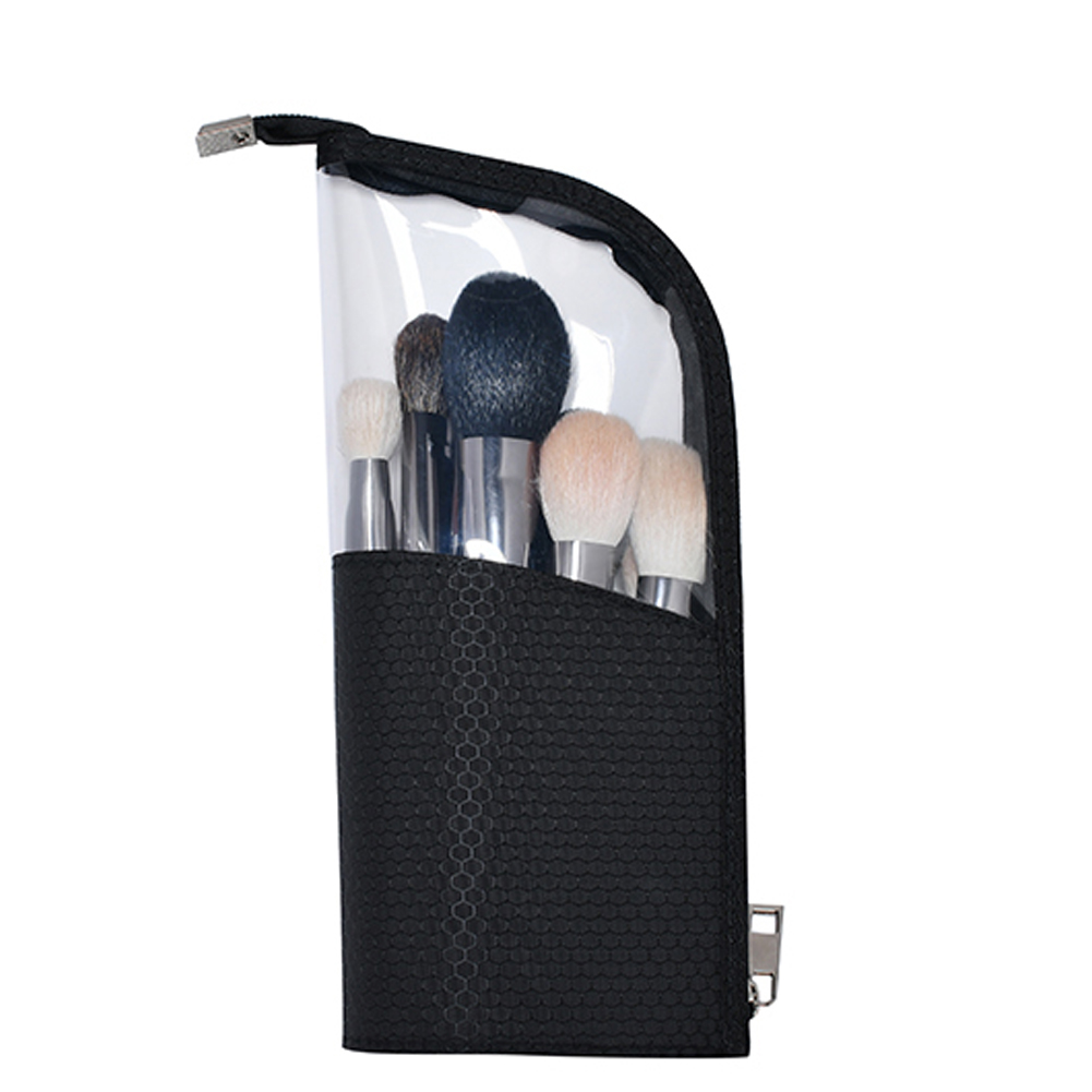 Cosmetic Waterproof Organizer Half Transparent Travel Pouch Portable Makeup Bag Brush Holder Pencil Case Zipper Closure Stand-up