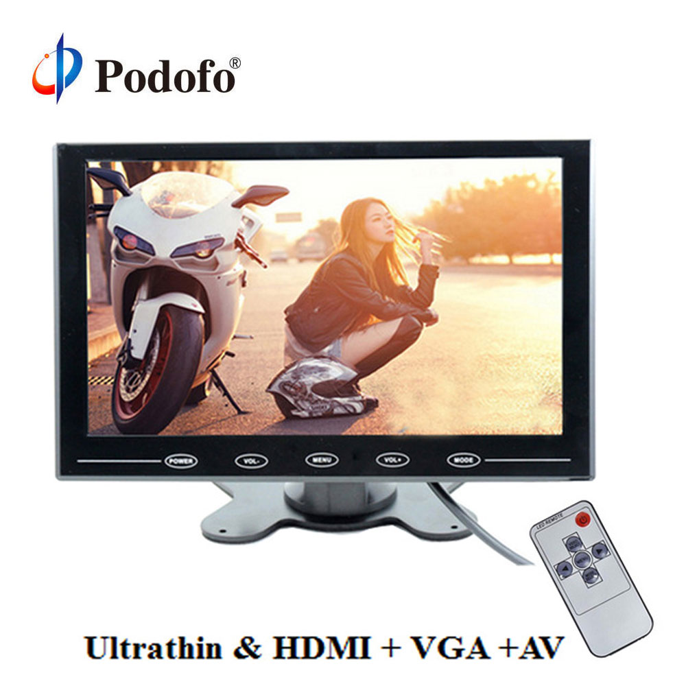 Podofo 9 Ultrathin HD Color TFT 2 Video Input Car Monitor Display Screen For PC CCTV