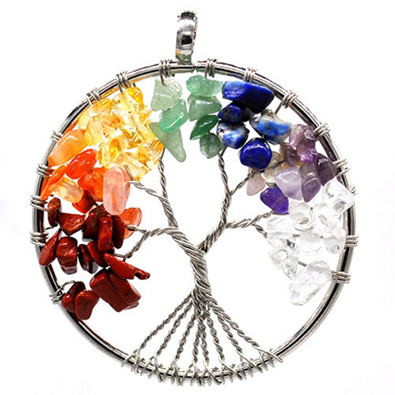 7 Chakra Stones Crystal necklaces Pendants Natural Stone Tree of Life Pendulum Pendant Necklace for Women Healing Reiki Jewelry in Pendants from Jewelry Accessories