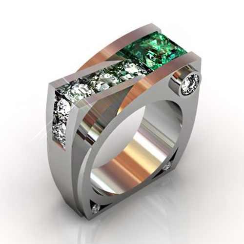 สไตล์วินเทจสีเขียวสีขาว Zircon แหวนหิน Luxury ชายหญิงเครื่องประดับสัญญาหมั้นแหวนผู้ชายและผู้หญิง