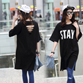 2016 Mulheres Gordas Tamanho Grande Soltas T Camisa Longa Das Mulheres Batwing Luva Casual O-neck Camiseta Femme Mulheres Negras Tops