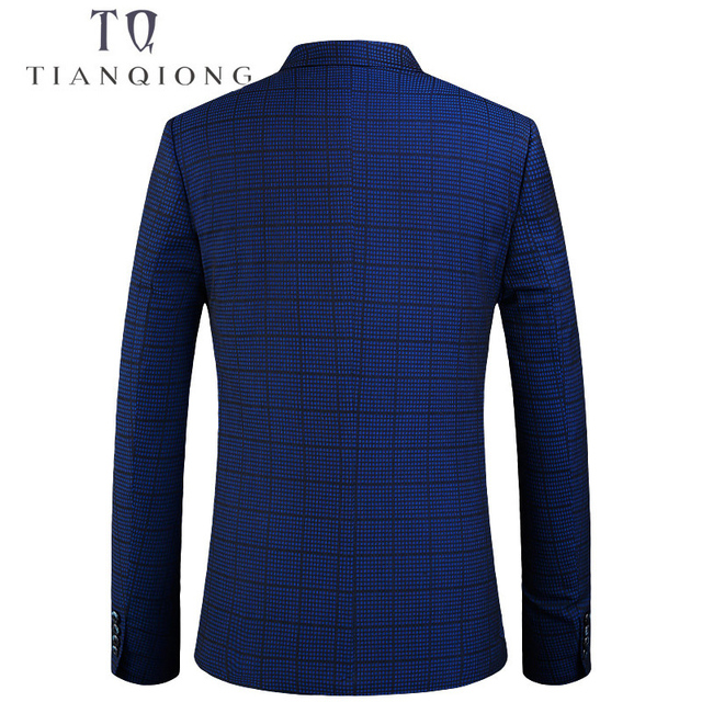 TIAN QIONG 2018 New Spring Hot Men's Fashion Casual Slim Fit Suit Jacket Blue Plaid High Quality Masculine Blazer Size M-4XL