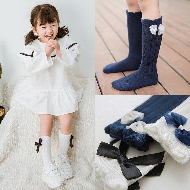 INPEPNOW 2019 School Kids Socks for Girls in School Socks for Children Socks Baby Cute Bow Mesh Cotton Knee Socks Girl WZ-CZX65 1