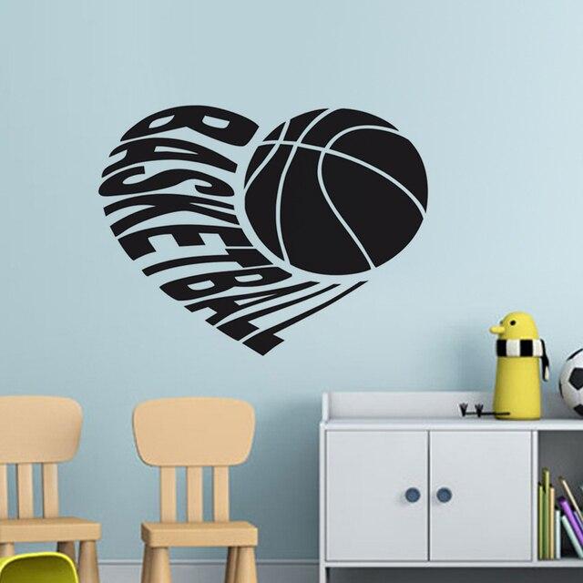 I Love Basketball Wall Stickers Boy S Room Decor Car Styling Creative Window Adhesive