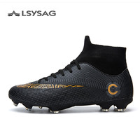 FG/TF Soccer Shoes Long Spikes High Top Ankle Football Shoes Boots Outdoor for Men Adults Kids Athletic Training Sock Cleats