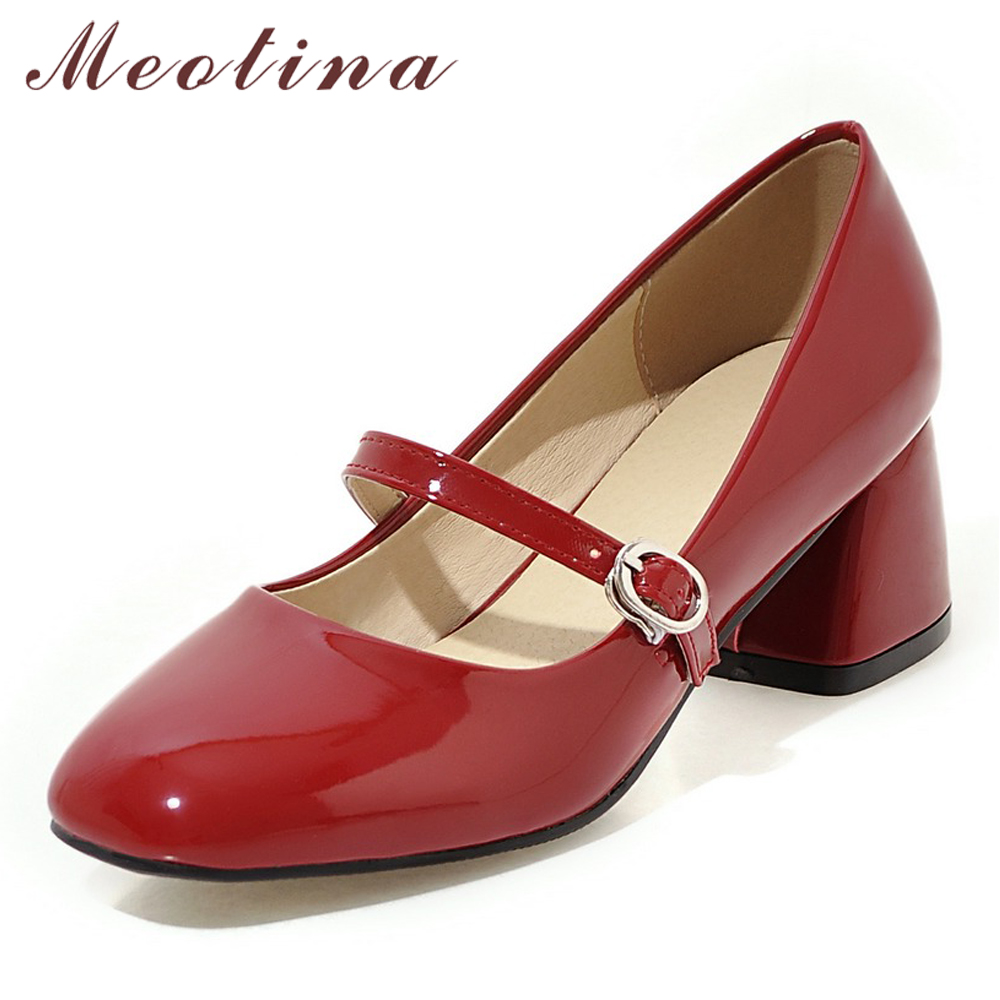 Meotina High Heels Shoes Women Mary Janes Shoes Patent Leather Med Heel  Pumps Buckle Square Toe Ladies Shoes Red Plus Size 33-43 1950698a2e06