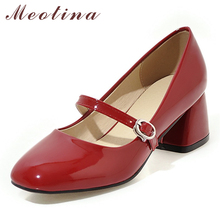 Купить с кэшбэком Meotina High Heels Shoes Women Mary Janes Shoes Patent Leather Med Heel Pumps Buckle Square Toe Ladies Shoes Red Plus Size 33-43