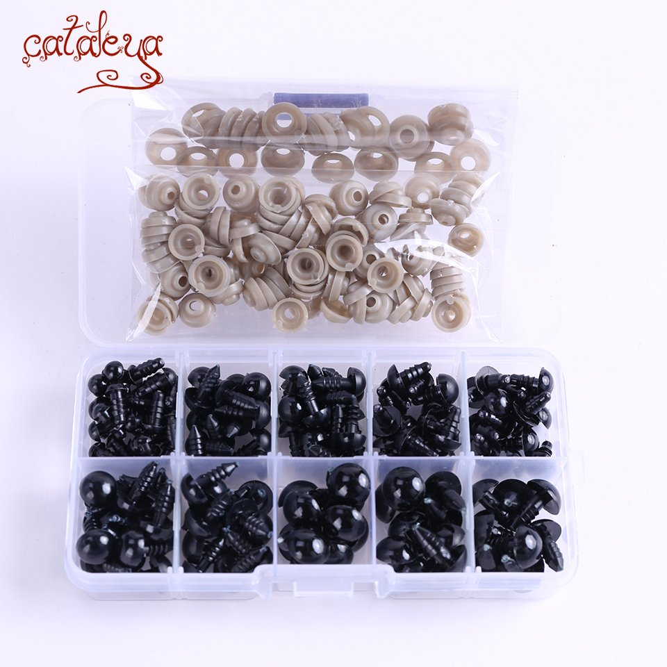 142pcs 6-14mm Black Plastic Craft Safety Eyes For Toys Bear Stuffed Doll Animal DIY Accessories