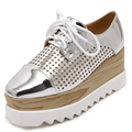 Spring Autumn Holes Cut Out Fretwork Breathable Women Oxfords Flat Platform Creepers Lace Up Patent Leather Brogue Woman Shoes