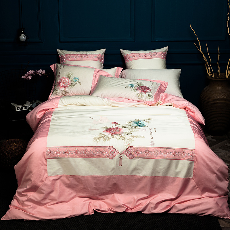 bedding set Egyptian cotton embroidery luxury stain bed set bed cover spring sheet 4/6pcs Queen king duvet set cover bed bedclot