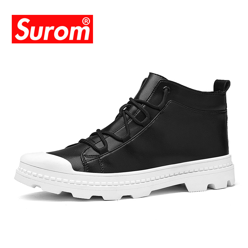 SUROM Luxury Brand Fashion Men s Motorcycle Boots Ankle Lace Up Leather  Work Martin Boots Cool Cow Boys Casual Shoes Hot sale. В избранное. gallery  image 5e6a1b11a0