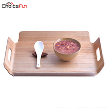 Choice Fun luxury Desk Table Bamboo In Bed Bread Wooden Tray Wood Fruit Breakfast Food Cake Coffee Tea Serving Tray With Handles(China)