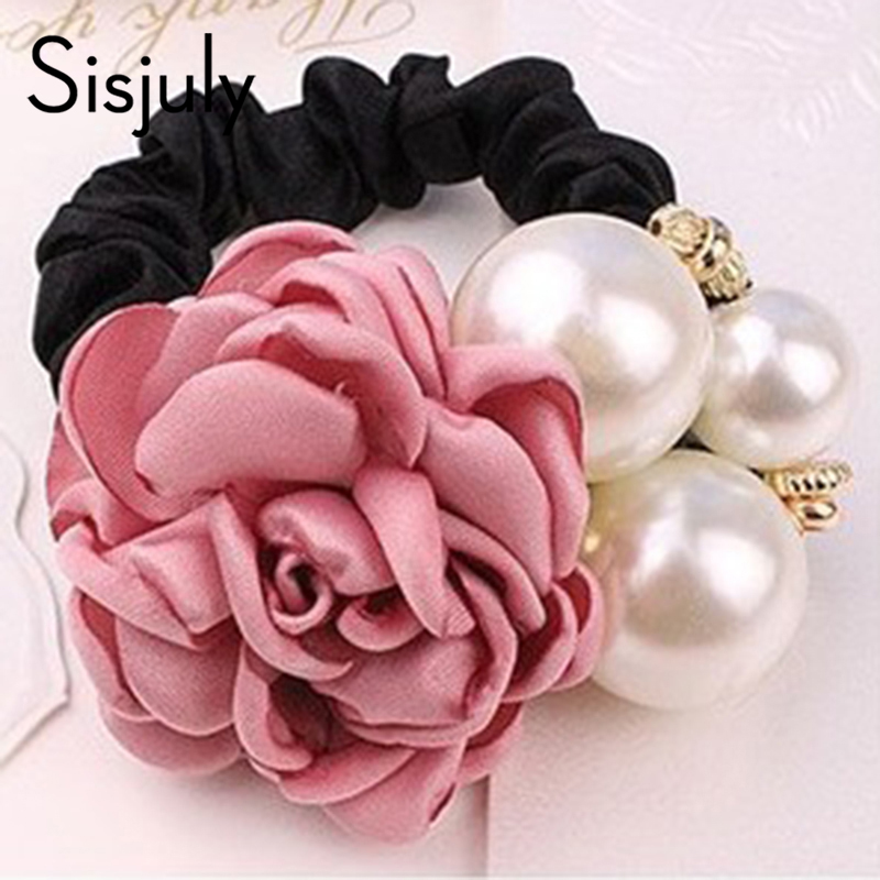 Sisjuly hairband women hair rope cloth fashion retro solid floral pearl inlaid korean party birthday chic accessories