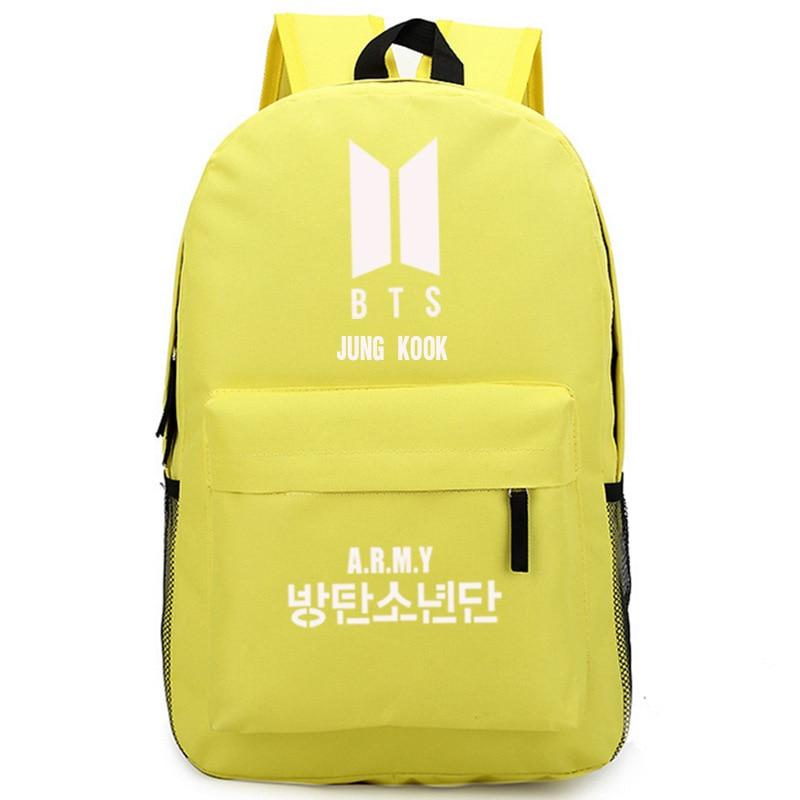 Korean Style Bts Bulletproof Boy Scouts Printing Backpack Jimin Jung Kook Women Backpack Unisex Shoulder Bags Canvas School Bags