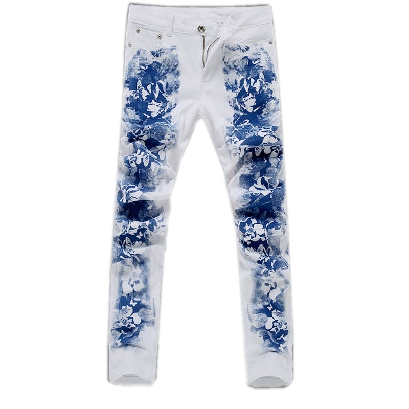 The new spring and summer of 2016 fashion cultivate one s morality printed white jeans